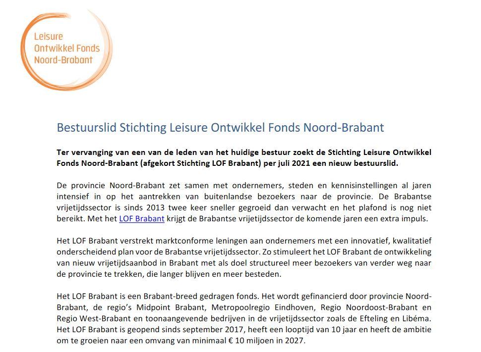 Afbeelding van de Vacaturetekst bestuurslid Stichting Leisure Ontwikkel Fonds Noord-Brabant