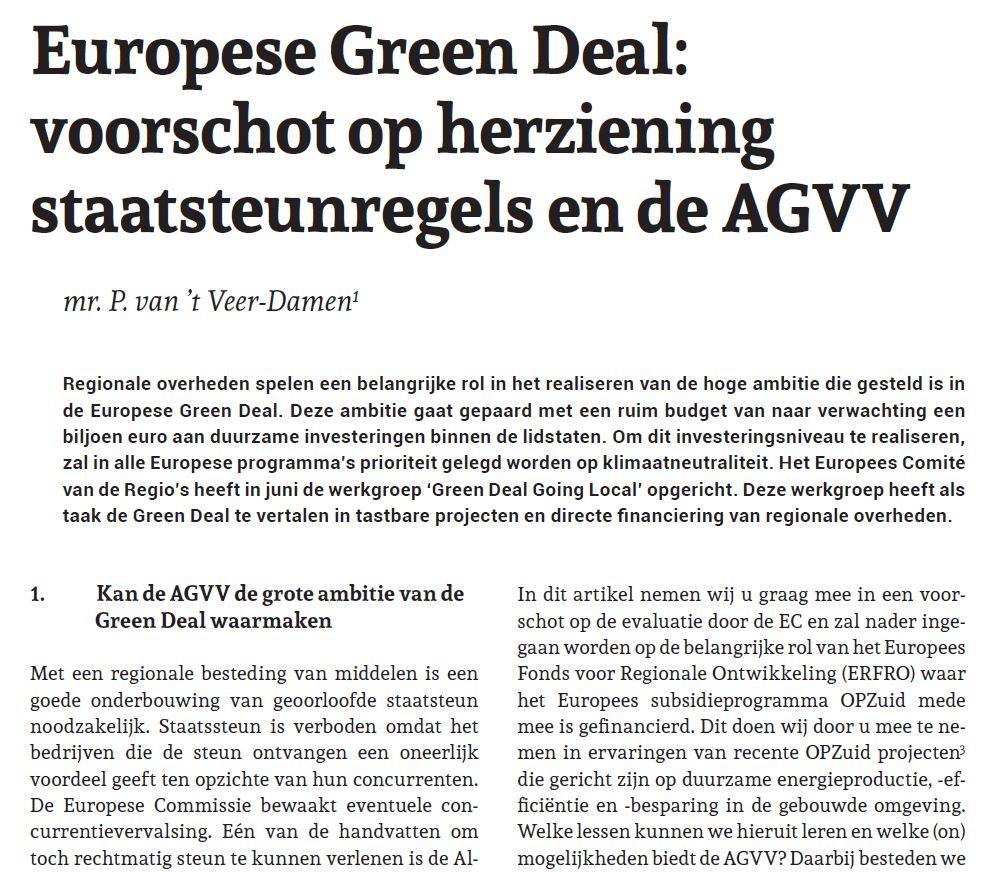 Afbeelding van het artikel in het Tijdschrift Staatssteun genaamd Europese Green Deal: voorschot op herziening staatsteunregels en de AGVV