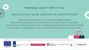 Uitnodiging voor online bijeenkomst 'Samen bouwen aan de toekomst van Zuid-Nederland'