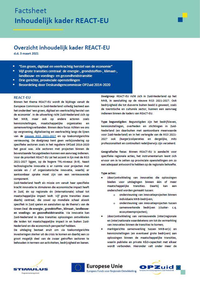 Afbeelding van de factsheet van het inhoudelijk kader voor REACT-EU
